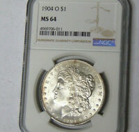 NGC MINT STATE 64 1904-O MORGAN SILVER DOLLAR NEW ORLEANS MINT NEAR GEM BU