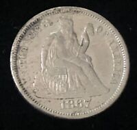 1867-S SEATED LIBERTY DIME -  LOW MINTAGE