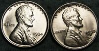 1934 AND 1935-S LINCOLN CENT WHEAT CENT ---- GEM BU DETAILS ----  W574