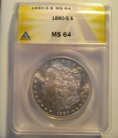 1880 S ANACS MINT STATE 64 MINT STATE 64 MORGAN SILVER DOLLAR - 6201483 - MUST SEE
