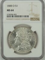 1888-O $1 MORGAN SILVER DOLLAR NGC MINT STATE 64 5758283-002  SOLID WHITE COIN  VAM-9