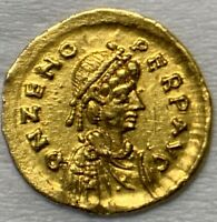ANCIENT ROMAN GOLD COIN OF ZENO; TREMISSIS; 2ND REIGN 476 491 AD.  COIN