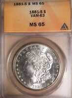 1881-S VAM-63 ANACS MINT STATE 65 MORGAN SILVER DOLLAR