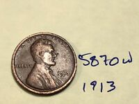 1913 1C BN LINCOLN CENT 5870W WHEAT CENT