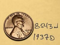 1937-D 1C BN LINCOLN CENT 8543W WHEAT CENT EF