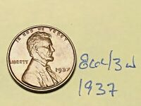 1937 1C BN LINCOLN CENT 8643W WHEAT CENT EF