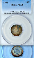 1866 PCGS PR63 8,000 MINTED  725 PROOF 2ND LOWEST 1804-2019 10C  SEATED DIME