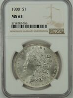 1888-P $1 MORGAN SILVER DOLLAR NGC MINT STATE 63 5758282-056  GREAT EYE APPEAL