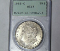 PCGS MINT STATE 63 1885-O MORGAN SILVER DOLLAR NEW ORLEANS MINT CHOICE BU RATTLER HOLDER