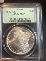 1883-CC MORGAN SILVER DOLLAR PCGS MINT STATE 64DMPL. SHIPS FREE. MAKE OFFER THANKS.