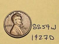 1927 D LINCOLN CENT WHEAT CENT 7167W F - EF