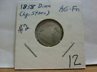 1838 SEATED LIBERTY SILVER DIME W/ LARGE STARS  2