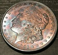 1921-P USA SILVER MORGAN DOLLAR CHOICE BU UNC FLAWLESS TONED GEM COLOR DR