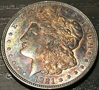 1921-P USA MORGAN SILVER DOLLAR TONED GEM COLOR BU CHOICE UNC GORGEOUS DR