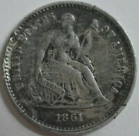 1861 UNITED STATES SEATED LIBERTY HALF DIME EXTRA FINE  DETAILS