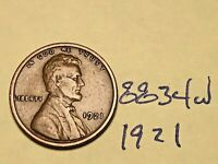 1921 1C BN LINCOLN CENT 8834W WHEAT CENT VF