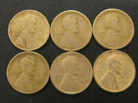 LOT OF 6 LINCOLN WHEAT CENT 1919,1919 S,1920 D,1920 S,1920 & 1921