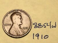 1910 1C BN LINCOLN CENT 8854W WHEAT CENT VG