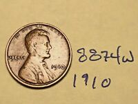 1910 1C BN LINCOLN CENT 8874W WHEAT CENT F - VF