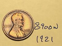1921 1C BN LINCOLN CENT 8900W WHEAT CENT VG - F
