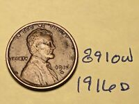1916-D 1C BN LINCOLN CENT 8910W WHEAT CENT VG - F