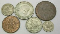 NEW ZEALAND 1/2 1 3 6 PENCE & SHILLING & FLORIN 1954/1965