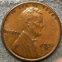 1937 D HIGH GRADE AU BN LINCOLN WHEAT CENT PENNY. R394 FREE SHIP