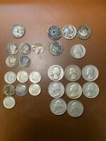 LOT OF 26 MIXED SILVER COINS   NICKELS DIMES QUARTERS 1912 1