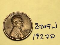 1927 D LINCOLN CENT WHEAT CENT 8209W VF
