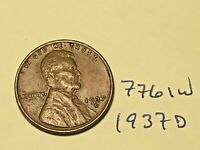 1937-D 1C BN LINCOLN CENT 7761W WHEAT CENT F