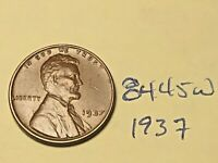 1937 1C BN LINCOLN CENT 8445W WHEAT CENT