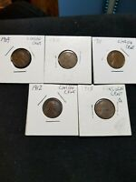 LINCOLN WHEAT CENT LOT OF  5 1909-1913 FROM FIRST YEAR OF MINTAGE