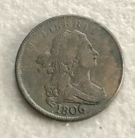 1806 DRAPED BUST HALF CENT FINE   ROTATED REVERSE   US COIN LARGE 6 STEMS