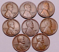 1921S 1923S 1924S 1927S 1931D 1933D 1933P 1935S LINCOLN CENT PENNY LOT OF 8