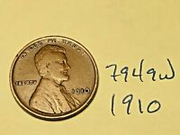 1910 1C BN LINCOLN CENT 7949W WHEAT CENT VG - F
