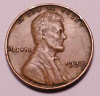 1937 P LINCOLN WHEAT CENT PENNY -  - >BETTER GRADE- WHEATS< -