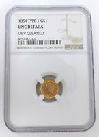 1854 TYPE 1 AMERICAN GOLD COIN G$1 ONE DOLLAR NGC UNC DETAIL