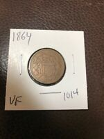1864 2 CENT PIECE LARGE MOTTO VF. 1014
