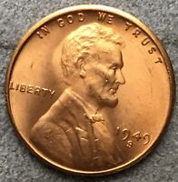 1949 S RD RED UNCIRCULATED BU LINCOLN WHEAT CENT. A215 FREE SHIP