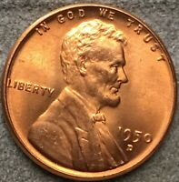 1950 D RD RED UNCIRCULATED BU LINCOLN WHEAT CENT. X437 FREE SHIP