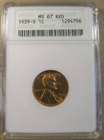 1939 S LINCOLN CENT ANACS MS 67 RED OLD WHITE HOLDER TOP POP SEE PHOTOS