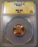 1987 D/D LINCOLN CENT FS 501 RPM 003 ANACS MS 65 RED HIGH GRADE CONECA TOP 100