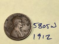 1912 1C BN LINCOLN CENT 5805W WHEAT CENT
