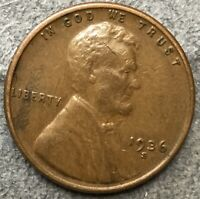 1936 S LINCOLN WHEAT CENT PENNY - HIGHER GRADE VF-F  FREE SHIP. A454