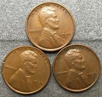 1936-P 1936-D 1936-S  LINCOLN WHEAT CENTS PENNIES-HIGH GRADE EXTRA FINE FREE SHIP X188