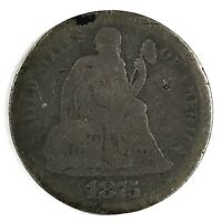 1875-CC UNITED STATES SILVER SEATED LIBERTY DIME - G - ABOVE BOW