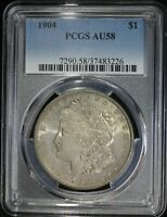 1904 P MORGAN SILVER DOLLAR PCGS AU58 LUSTROUS COIN LIGHT TONING LOOKS MS