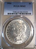 1904 PCGS MINT STATE 62 MORGAN SILVER DOLLAR