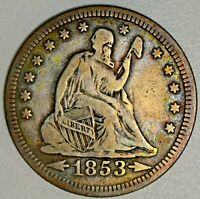 1853 RAYS/ARROWS SEATED LIBERTY QUARTER 25C   GREAT TYPE COI