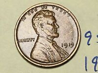 1919 1C BN LINCOLN CENT 9511W WHEAT CENT